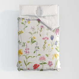 botanical colorful countryside wildflowers watercolor painting Comforters