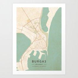 Burgas, Bulgaria - Vintage Map Art Print