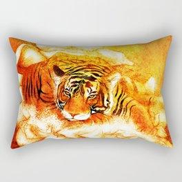 A Relaxed Fire Tiger On Gardenias Rectangular Pillow