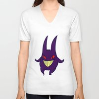 gengar V-neck T-shirts featuring gengar by Spacey Brains