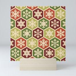 Classic Christmas Snowflake Red and Green Pattern Mini Art Print