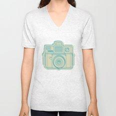 I Still Shoot Film Holga Logo - Turquoise/Tan Unisex V-Neck
