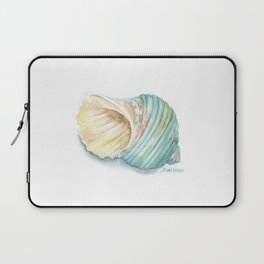Green Turbo Seashell Watercolor Laptop Sleeve