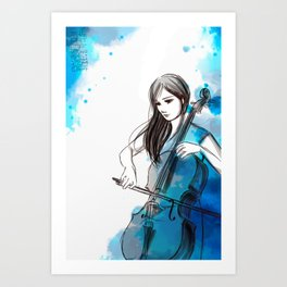 Mia and her cello Art Print