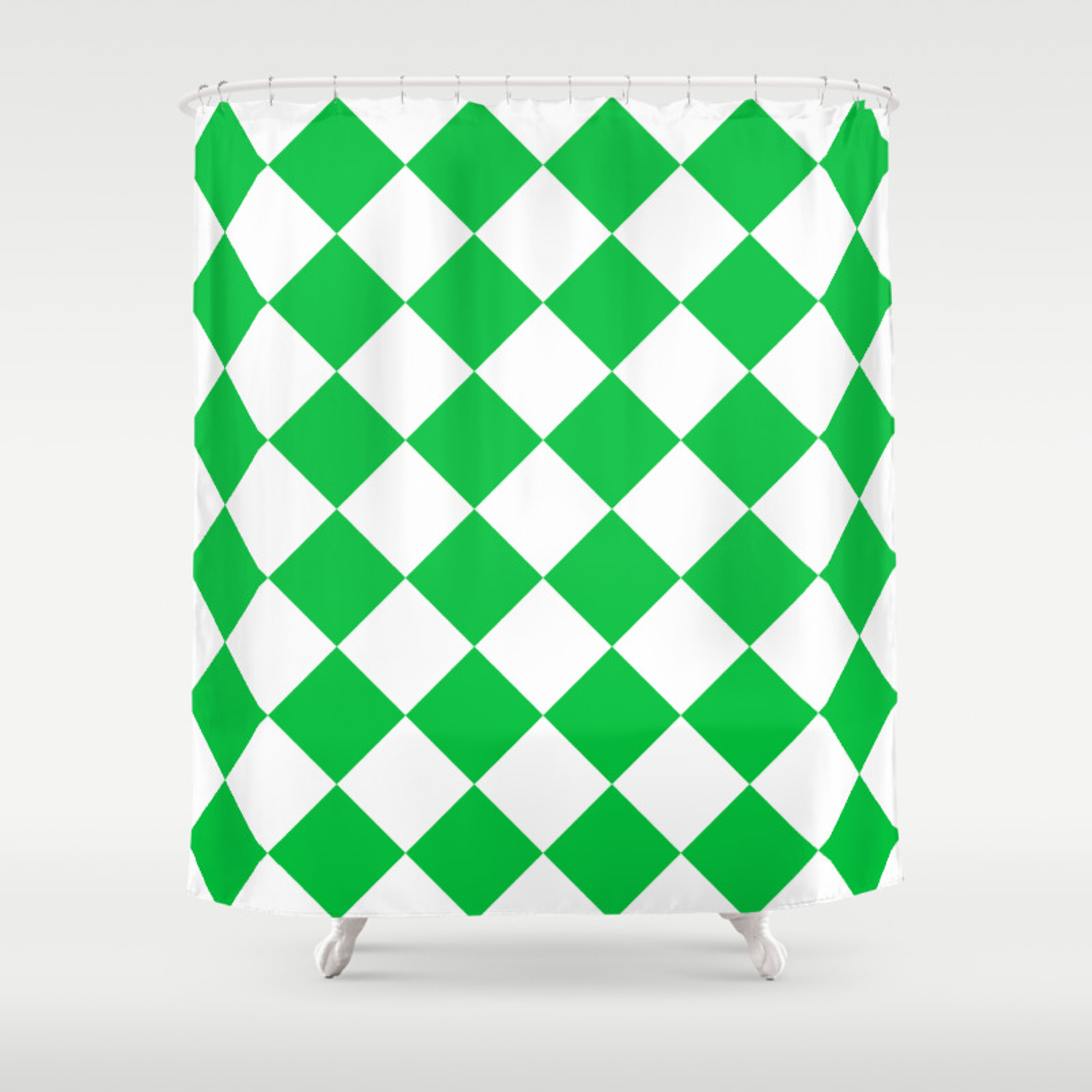 Large Diamonds White And Dark Pastel Green Shower Curtain