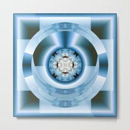 Art Deco Hub Cap in Blue Metal Print