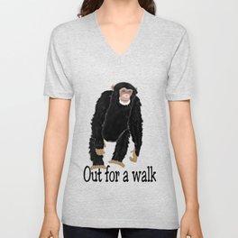 Chimp, out for a walk Unisex V-Neck