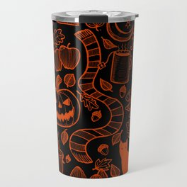 October Pattern- Orange & Black Travel Mug
