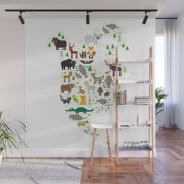 Map of North America with Animals bison bat manatee fox elk horse wolf partridge seal Polar bear Wall Mural