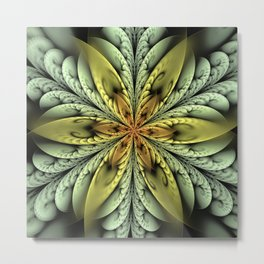 Golden flower with mint swirls Metal Print
