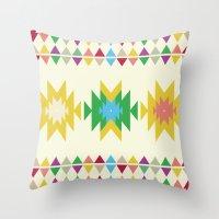 folk Throw Pillows featuring Folk by MihaMiha