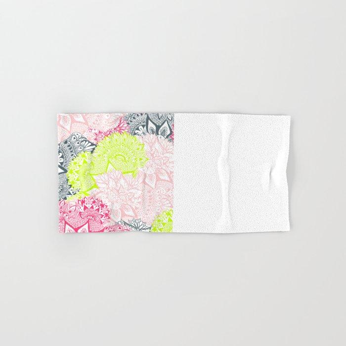 Bright neon yellow henna floral paisley pattern  Hand & Bath Towel