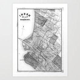 Vintage Map of Oakland California (1878) BW Art Print