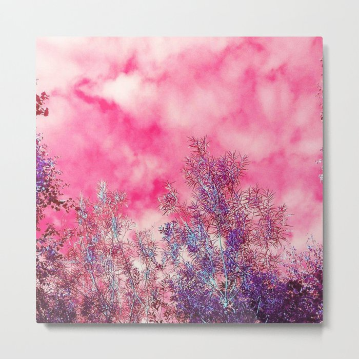 Pink Forest Clouds Metal Print