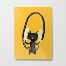 I Love Huge Headphone Metal Print