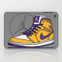 lakers iPad Cases featuring Jordan 1 mid (LA Lakers) by Pancho the Macho