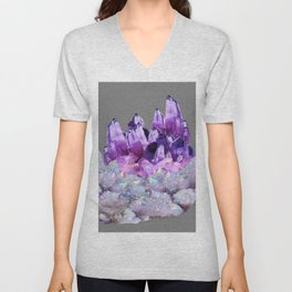 SPARKLY WHITE QUARTZ & PURPLE AMETHYST CRYSTAL Unisex V-Neck