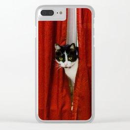 Peek-A-Boo Tuxedo Kitty Clear iPhone Case