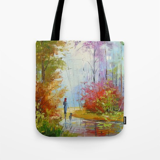 A walk in the autumn woods Tote Bag