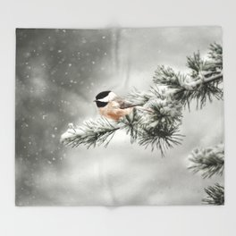 Winter Chickadee Throw Blanket