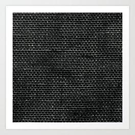 Black Burlap texture  Art Print