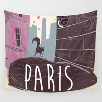 travel poster Wall Tapestries featuring Vintage Paris Travel Poster cartoon by Nick's Emporium Gallery
