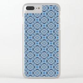 Blue Arabesque Tile Design Clear iPhone Case