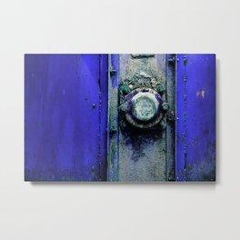Industrial Cobalt Blue Grunge Chest Metal Art Metal Print