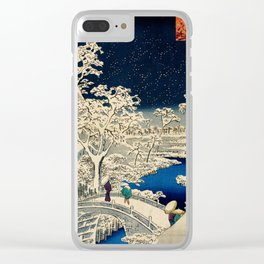 Ukiyo-e, Ando Hiroshige, Yuhi Hill and the Drum Bridge at Meguro Clear iPhone Case