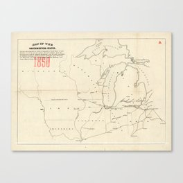 Railroad & The Northwestern States in 1850 Canvas Print