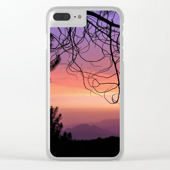 Purple sunset. At the woods Clear iPhone Case