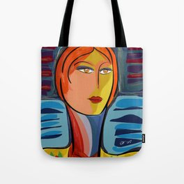 Woman at the window on the French Riviera Tote Bag