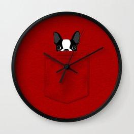 Pocket Boston Terrier Wall Clock