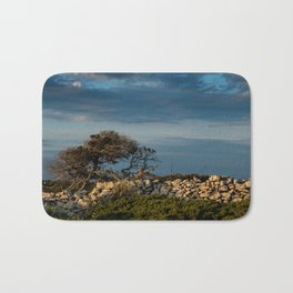 Wood, stone and clouds Bath Mat