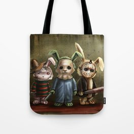 Horror Bunnies - Parody of Jason, Freddy and Michael Myers Tote Bag