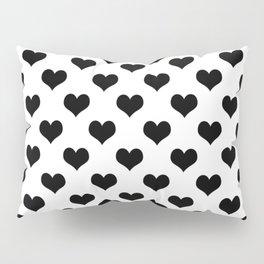 White Black Hearts Minimalist Pillow Sham