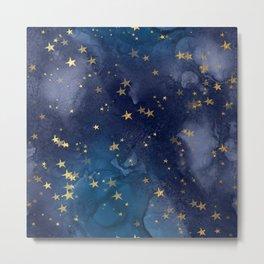 Gold stardust night sky Metal Print