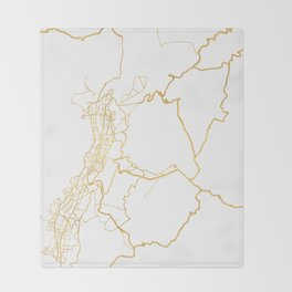 QUITO ECUADOR CITY STREET MAP ART Throw Blanket