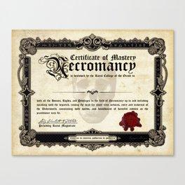 Certificate of Necromancy Canvas Print