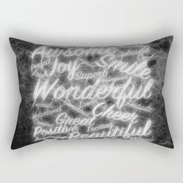 Grey positive word cloud by Brian Vegas Rectangular Pillow