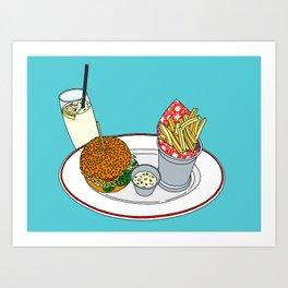 Burger, Chips and Lemonade Art Print