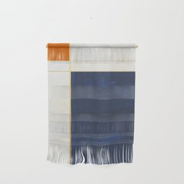 Orange, Blue And White With Golden Lines Abstract Painting Wall Hanging