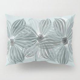 Mint Blue Watercolor Spring Flowers Pillow Sham
