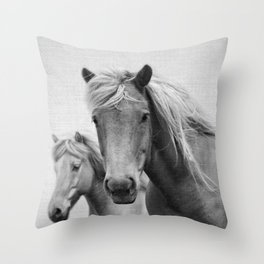 Horses - Black & White Throw Pillow