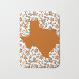 Texan texas longhorns orange and white university college football floral Bath Mat