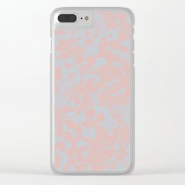 Soft Pink & Gray Floral Silhouette Pattern - Broken but Flourishing Clear iPhone Case