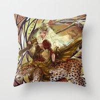 safari Throw Pillows featuring Safari by Bea González