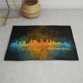 Columbus Ohio, City Skyline, watercolor  Cityscape Hq v4 Rug