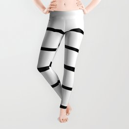 Simple Black and White Lines Decor Leggings