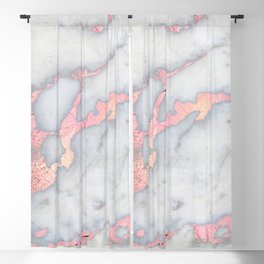 Rosegold Pink on Gray Marble Metallic Foil Style Blackout Curtain